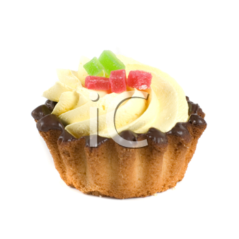 fresh fruit jelly cupcake isolated on white and cherry