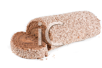 Chocolate Swiss roll closeup isolated on a white background