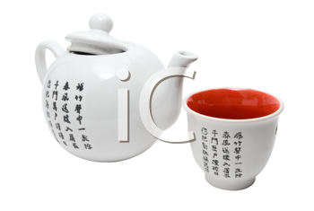Tea-things in asian style with hieroglyphics. Isolated on white.