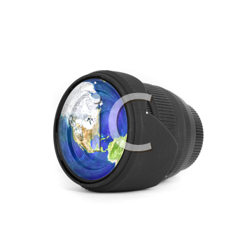Royalty Free Photo of Lens With Earth Reflected