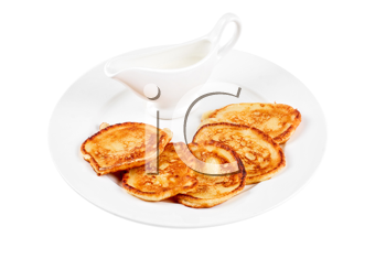 thick pancake with sauce isolated on a white background