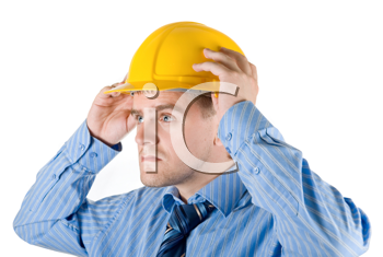 Royalty Free Photo of a Man Wearing a Hardhat