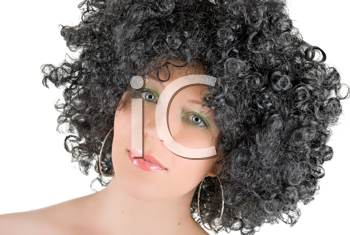 Royalty Free Photo of a Woman Wearing a Wig