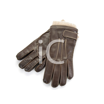 Brown modern male leather gloves isolated on a white