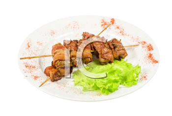 Royalty Free Photo of Chicken Liver Kebabs Wrapped With Bacon