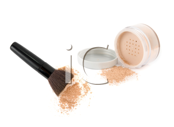 Royalty Free Photo of a Makeup Brush and Powder