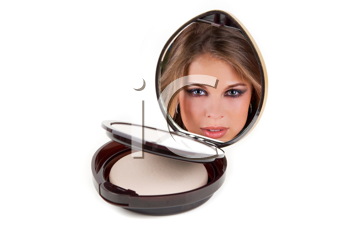 Royalty Free Photo of a Woman's Reflection in a Compact Mirror