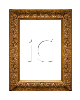 Picture gold frame with a decorative pattern on white
