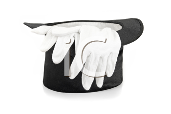 Royalty Free Photo of Gloves in a Top Hat