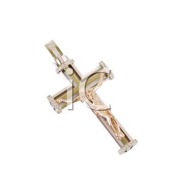 gold cross isolated on a white background