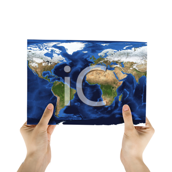 Royalty Free Photo of a Hand Holding a World Map