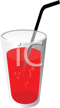 Vector illustration of red drink with pipe
