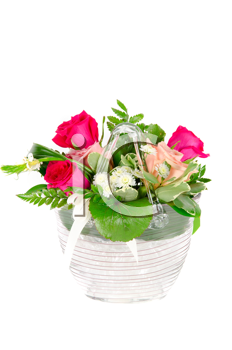 Bunch of roses in a vase isolated on white background