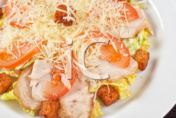 Salad of lettuce, chinese cabbage, tomato, garlic rusk, parmesan cheese, sauce and chicken meat