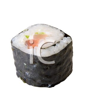Roll of sushi isolated on white