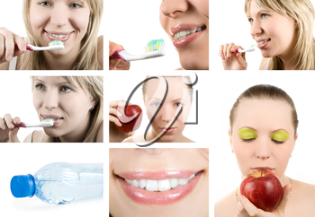 Beautiful woman and healthy teeth. Dental health. Collage.