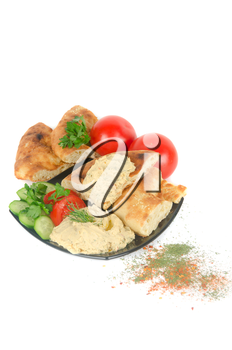Bread with pate and fresh vegetables of tomatoes and cucumbers