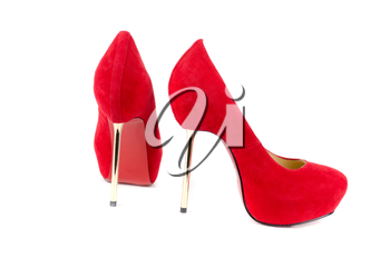 red female shoes on a white background
