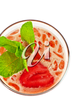 fresh cold tea with strawberry and ice on white