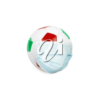 Soccer ball in italian colors with mask isolated on a white background. Virus threatened championship concept