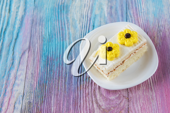 Tasty mini cake on a color gradient background