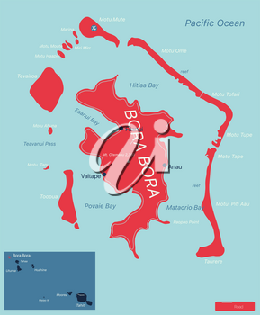 Bora Bora islands detailed editable map with regions cities and towns, roads and railways, geographic sites. Vector EPS-10 file