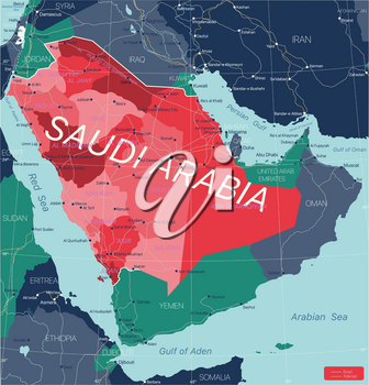 Saudi Arabia country detailed editable map with regions cities and towns, roads and railways, geographic sites. Vector EPS-10 file