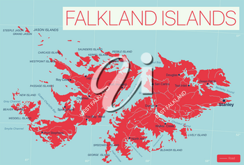 Falkland Islands detailed editable map with regions cities and towns, roads and railways, geographic sites. Vector EPS-10 file