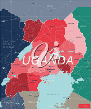 Uganda country detailed editable map with regions cities and towns, roads and railways, geographic sites. Vector EPS-10 file