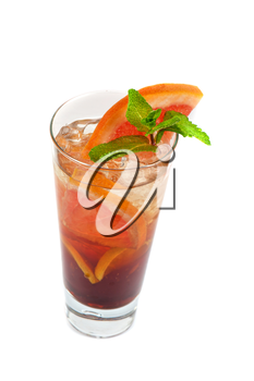 cold tea with grapefruit, lime, mint and ice on white