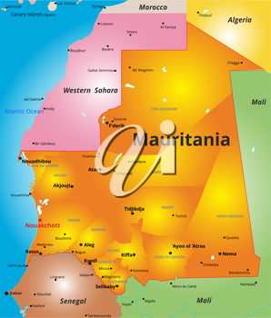 Vector color map of Mauritania country