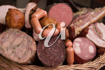 Variety of sausage products. close-up