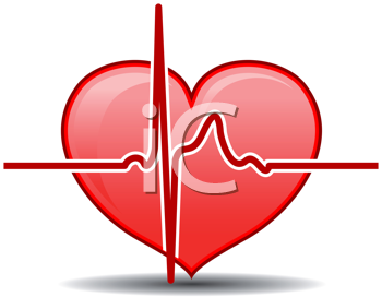 Royalty Free Clipart Image of a Heart and Monitor