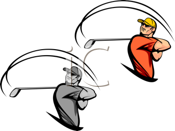 Royalty Free Clipart Image of Golfers
