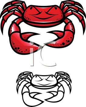 Royalty Free Clipart Image of a Red Crab and a White Crab