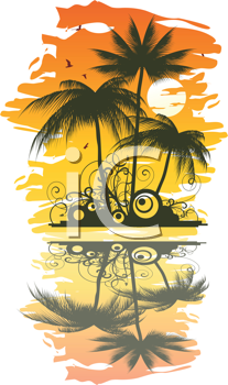 Royalty Free Clipart Image of a Tropical Setting