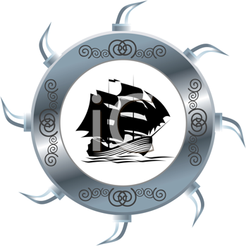 Royalty Free Clipart Image of a Tall Ship in a Circle