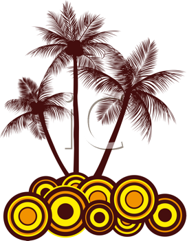 Royalty Free Clipart Image of a Palm Tree and Swirls