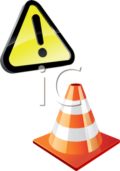 Royalty Free Clipart Image of a Warning Sign and a Traffic Cone