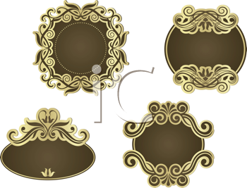 Royalty Free Clipart Image of a Set of Victorian Frames