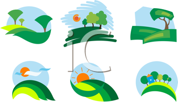 Royalty Free Clipart Image of a Set of Nature Symbols