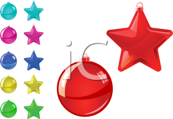 Royalty Free Clipart Image of Holiday Balls and Stars
