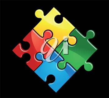 Pieces of puzzle game for abstract connection or integration design