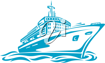 Cruise or transport ship silhouette for transportation or travel design