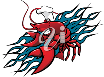 Smiling red prawn in cartoon style for tattoo design