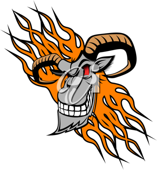 Wild goat with flames as a tattoo or mascot