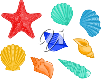 Set of seashells and star for underwater design