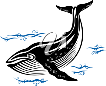 Big whale in sea water in retro style