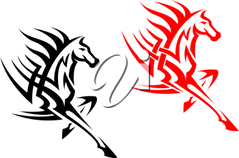 Tribal mustang stallion for mascot or tattoo design