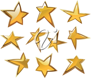 Glossy gold and yellow stars icons and symbols isolated on white background